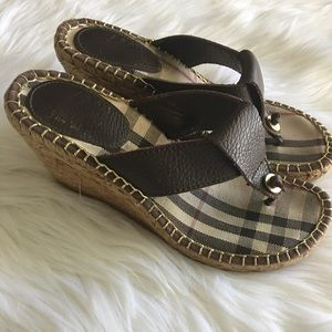 Authentic Burberry Wedge Sandal Classic Novacheck